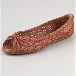 Frye brown leather woven peep toe shoes sandals